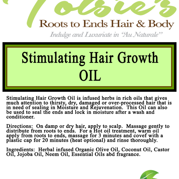 stimulting hair growth oil label